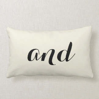 """And"" Pillow with striped back - off white"