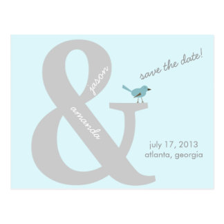 """And"" Sign Save the Date Postcard"