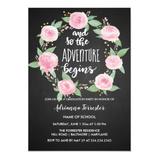 And So The Adventure Begins | Chalkboard Graduate Card