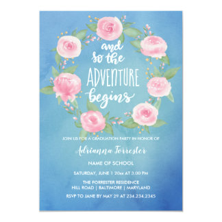 And So The Adventure Begins | Watercolor Graduate Card