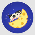 And the Cow Jumped Over the Cheese Moon Classic Round Sticker