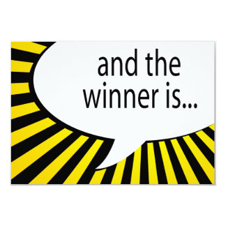 """and the winner is! comic speech bubble 3.5"""" x 5"""" invitation card"""