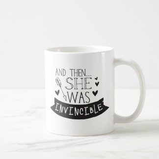 and then she was invincible coffee mug