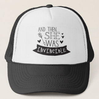 and then she was invincible trucker hat