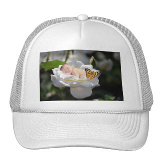 and white rose gift trucker hat