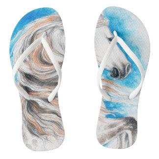 Andalusian Horse Blue Flip Flops