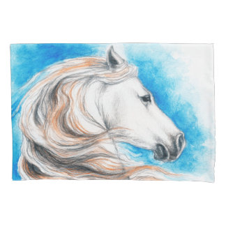 Andalusian Horse Blue Pillowcase