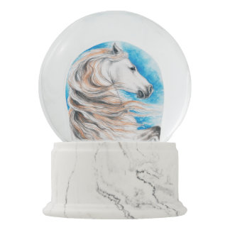 Andalusian Horse Blue Snow Globe