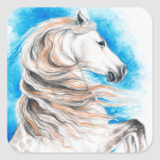 Andalusian Horse Blue Square Sticker