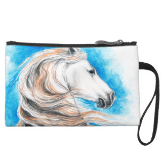 Andalusian Horse Blue Suede Wristlet