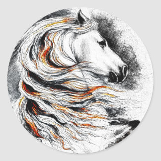 Andalusian Horse Comic Classic Round Sticker