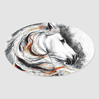 Andalusian Horse Comic Oval Sticker