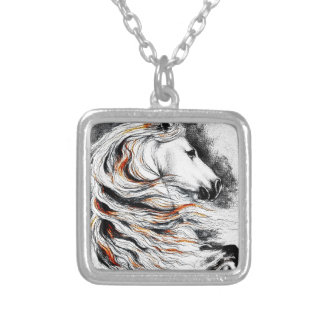 Andalusian Horse Comic Silver Plated Necklace