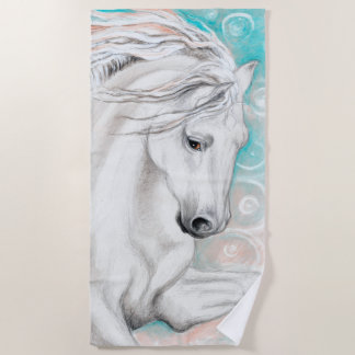 Andalusian Horse In Blue Beach Towel