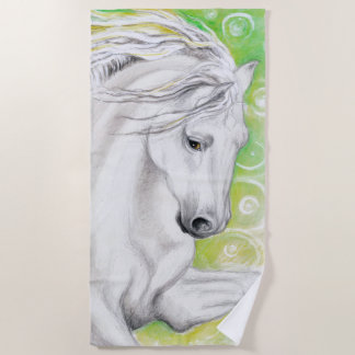 Andalusian Horse In Green Beach Towel