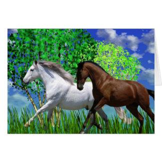 ANDALUSIAN HORSES RUNNING Greeting Card