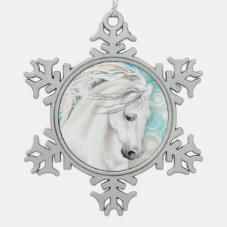 Andalusian In Blue Snowflake Pewter Christmas Ornament