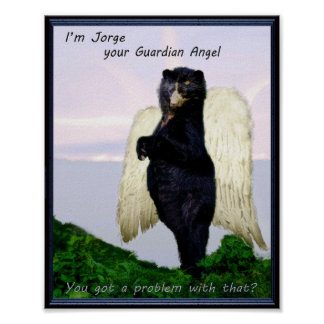 Andean Bear Guardian Angel Poster