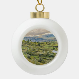Andean Rural Scene Quilotoa, Ecuador Ceramic Ball Christmas Ornament