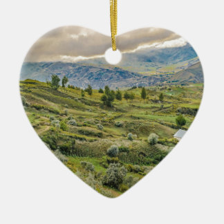 Andean Rural Scene Quilotoa, Ecuador Ceramic Heart Ornament