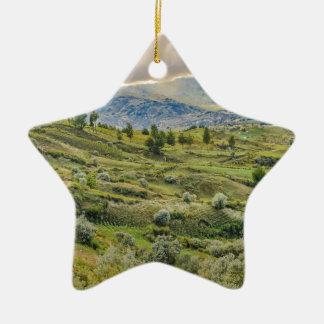 Andean Rural Scene Quilotoa, Ecuador Ceramic Star Ornament