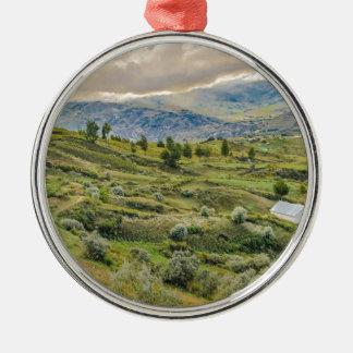 Andean Rural Scene Quilotoa, Ecuador Silver-Colored Round Ornament