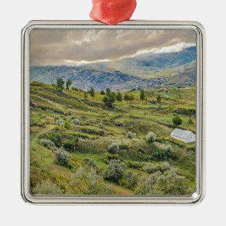 Andean Rural Scene Quilotoa, Ecuador Silver-Colored Square Ornament