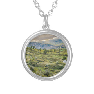 Andean Rural Scene Quilotoa, Ecuador Silver Plated Necklace