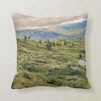 Andean Rural Scene Quilotoa, Ecuador Throw Pillow