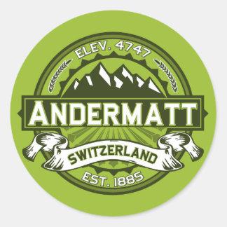 Andermatt Logo Green Classic Round Sticker
