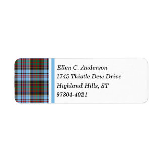 Anderson Clan Light Blue Scottish Tartan Return Address Label