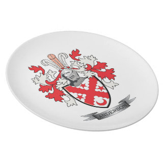 Anderson Family Crest Coat of Arms Dinner Plate