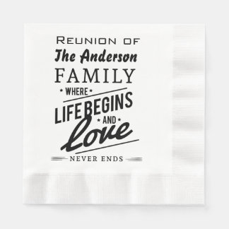 Anderson Family Member Reunion Vintage Typography Paper Napkin