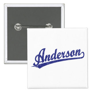 Anderson script logo in blue pinback buttons