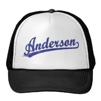 Anderson script logo in blue trucker hat