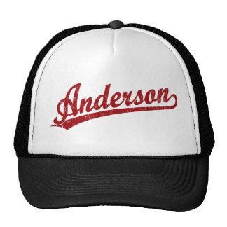 Anderson script logo in red trucker hat