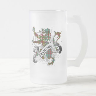 Anderson Tartan Lion Frosted Glass Beer Mug