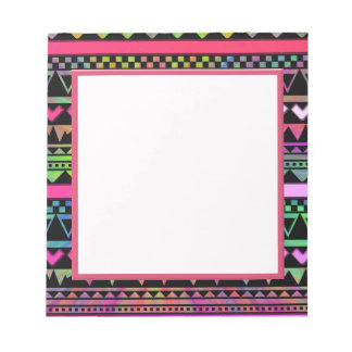 Andes Aztec Tribal Native Geometric Tie Die Neon Notepad