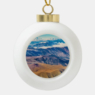 Andes Mountains Aerial View, Chile Ceramic Ball Christmas Ornament