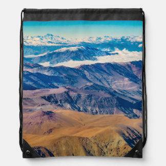 Andes Mountains Aerial View, Chile Drawstring Bag