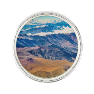 Andes Mountains Aerial View, Chile Lapel Pin