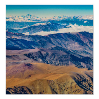 Andes Mountains Aerial View, Chile Poster