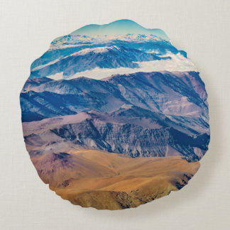 Andes Mountains Aerial View, Chile Round Pillow
