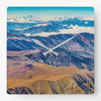 Andes Mountains Aerial View, Chile Square Wall Clock