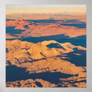 Andes Mountains Desert Aerial Landscape Scene Poster