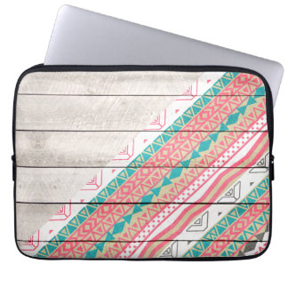 Andes Tribal Aztec Coral Teal Chevron Wood Pattern Laptop Computer Sleeve