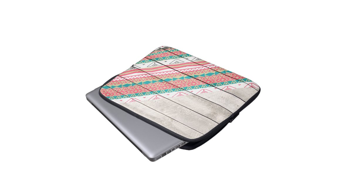 Andes Tribal Aztec Coral Teal Chevron Wood Pattern Laptop