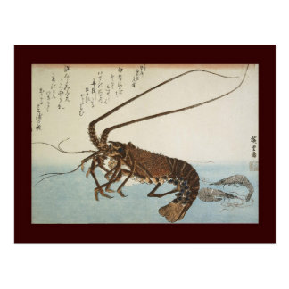 Ando Hiroshige Sheet Lobster and Shrimps Postcard