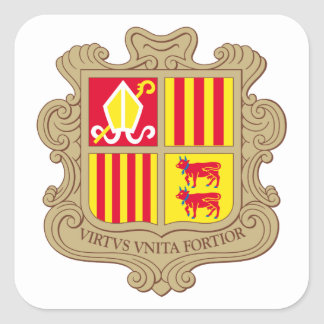 andorra arms square stickers
