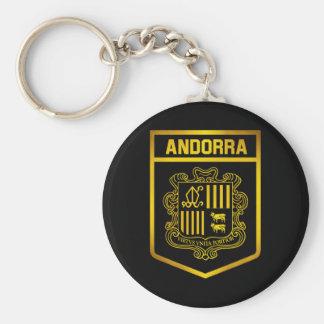 Andorra Emblem Basic Round Button Keychain